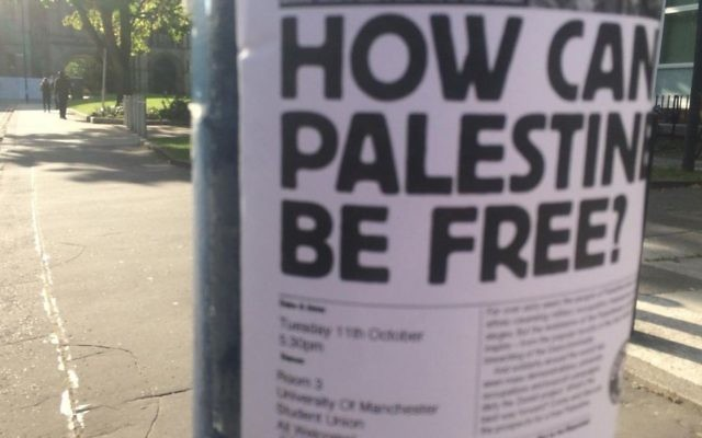A flyer posted on a lamppost on a Scottish campus advertising the now postponed event
