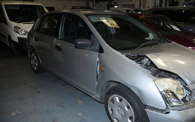 A crashed up car posted by the North Wales police