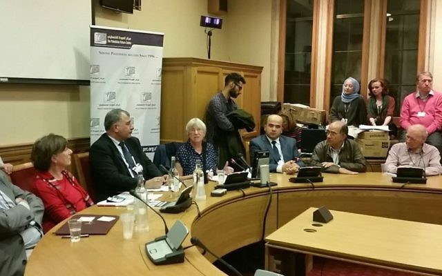 The panel event in parliament, held by the Palestine Return Centre. Baroness Tonge is sitting second from the left in red.