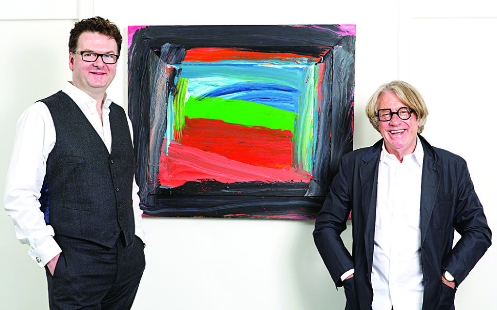 Fortnum & Mason CEO Ewan Venters and Frank Cohen with Howard Hodgkin's Going To America, 1999