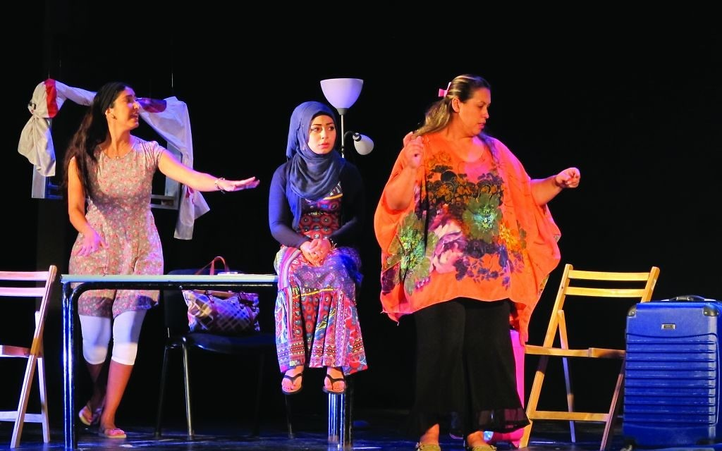 Arab and Jewish students on the Western Gailillee College course get together to act out on stage what what they have learned about living and working together