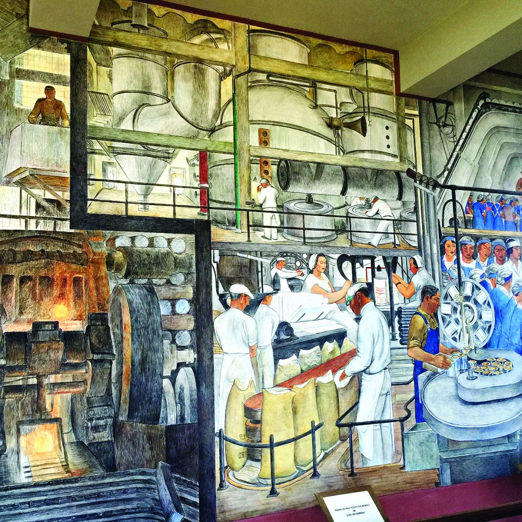 Part of the Industries of California mural by Ralph Stackpole in the Coit Tower