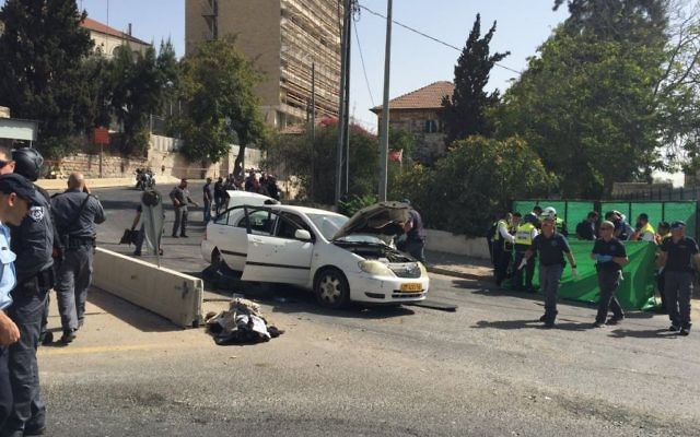 The scene of the attacker's car at the Jerusalem shooting