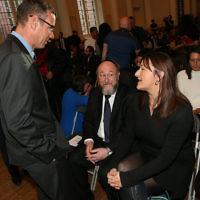 Israel's UK Ambassador Mark Regev in conversation with the Chief Rabbi and Ruth Smeeth MP