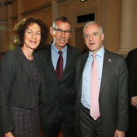 Mark Regev (centre) with the Board of Deputies Chief Executive Gillian Merron and Jonathan Arkush
