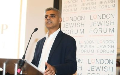 London Mayor Sadiq Khan addressing a London Jewish Forum event.