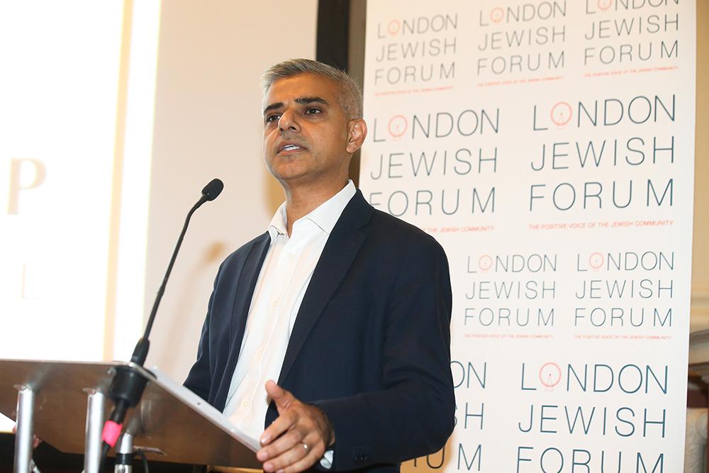 London Mayor Sadiq Khan addressing the commemorative event
