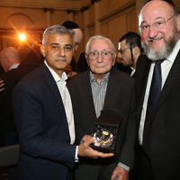 Sadiq Khan and the Chief Rabbi with Cable Street veteran Willie Myers