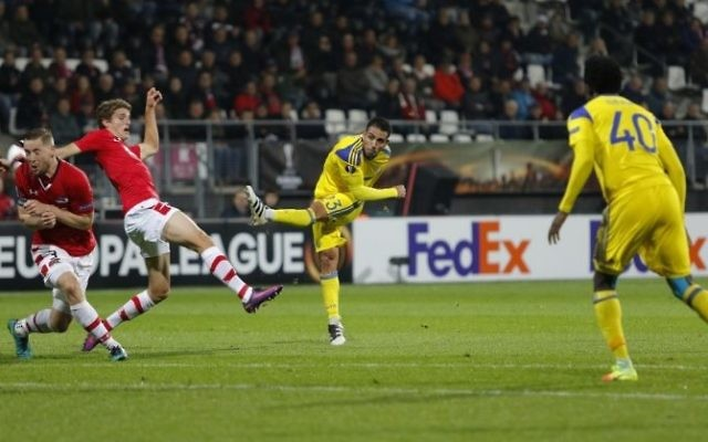 Eyal Golasa fired in Maccabi's late winner. Picture: Maccabi Tel Aviv FC