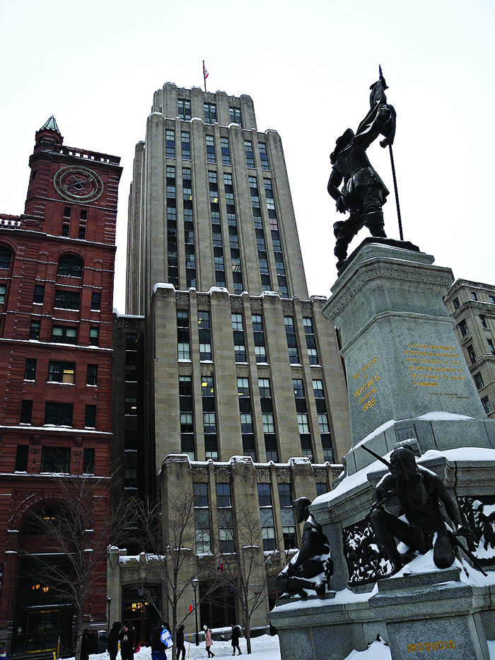 Old Montreal town square in the snow