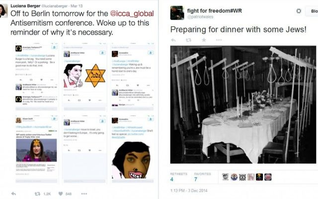 Examples of anti-Semitic hatred being posted on Twitter