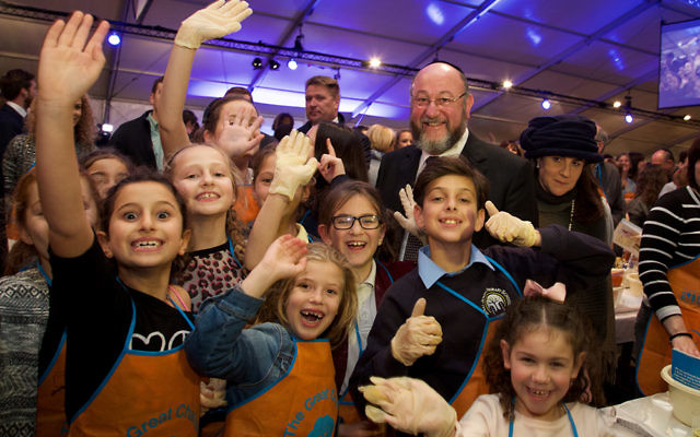 Great Challah bake with the Chief Rabbi, during Shabbat UK 2016