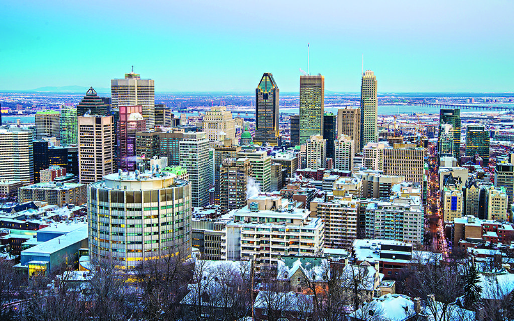 Montreal skyline at sunset, in Winter