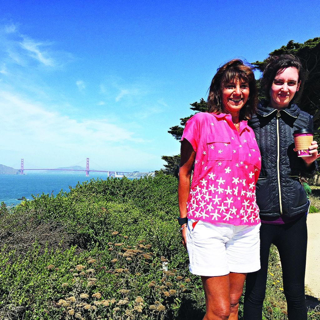 Sharon with her daughter above the Golden Gate