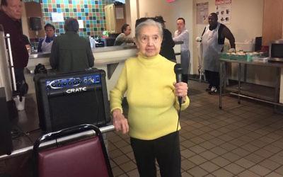 Gina Zuckerman at the senior center where she volunteers in New York City. (Facebook)