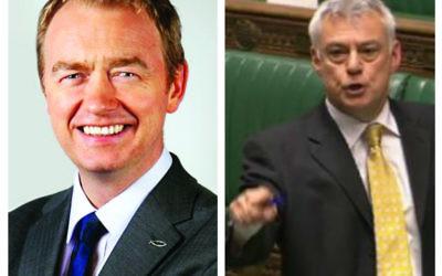 Liberal Democrat leader Tim Farron (l) and David Ward in parliament (r)