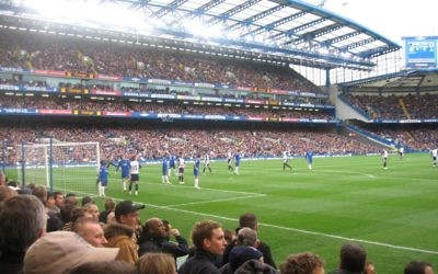 Chelsea fans at a match against Tottenham Hotspur,  at Stamford Bridge, their home ground.