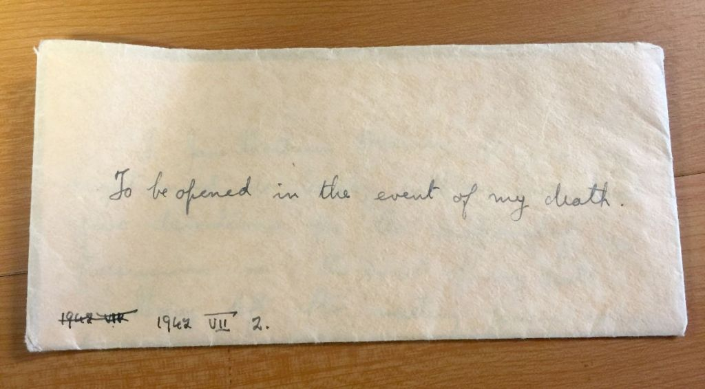 The envelope which contained the will of Jane Haining, who was honoured for giving her life to help protect Jewish schoolgirls during the Holocaust. (Photo credit: Church of Scotland/PA Wire)