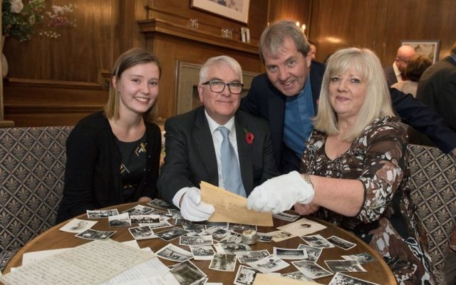 Caitriona Topping (left), Robert O'Brien (second left), Joyce Greenlees and Moderator Rev Russell Barr, attending a special reunion to view Jane Haining's handwritten will. (Photo credit: Andrew O'Brien/Church of Scotland/PA)