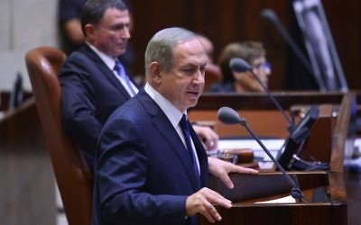 Benjamin Netanyahu speaking in the Knesset. (Photo by Ohad Zwigenberg/POOL via JINIPIX)
