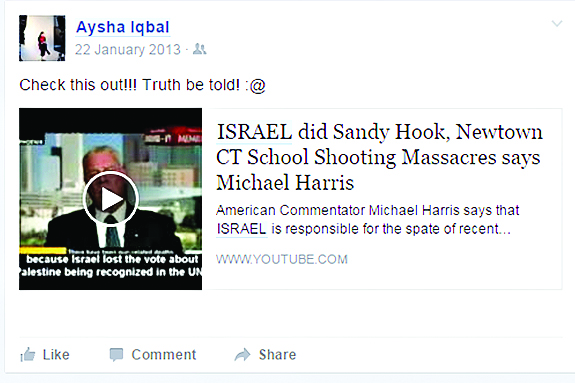 """The post claiming """"Israel did Sandy Hook"""""""