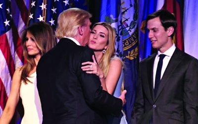 Ivanka Trump embracing her father, President Donald