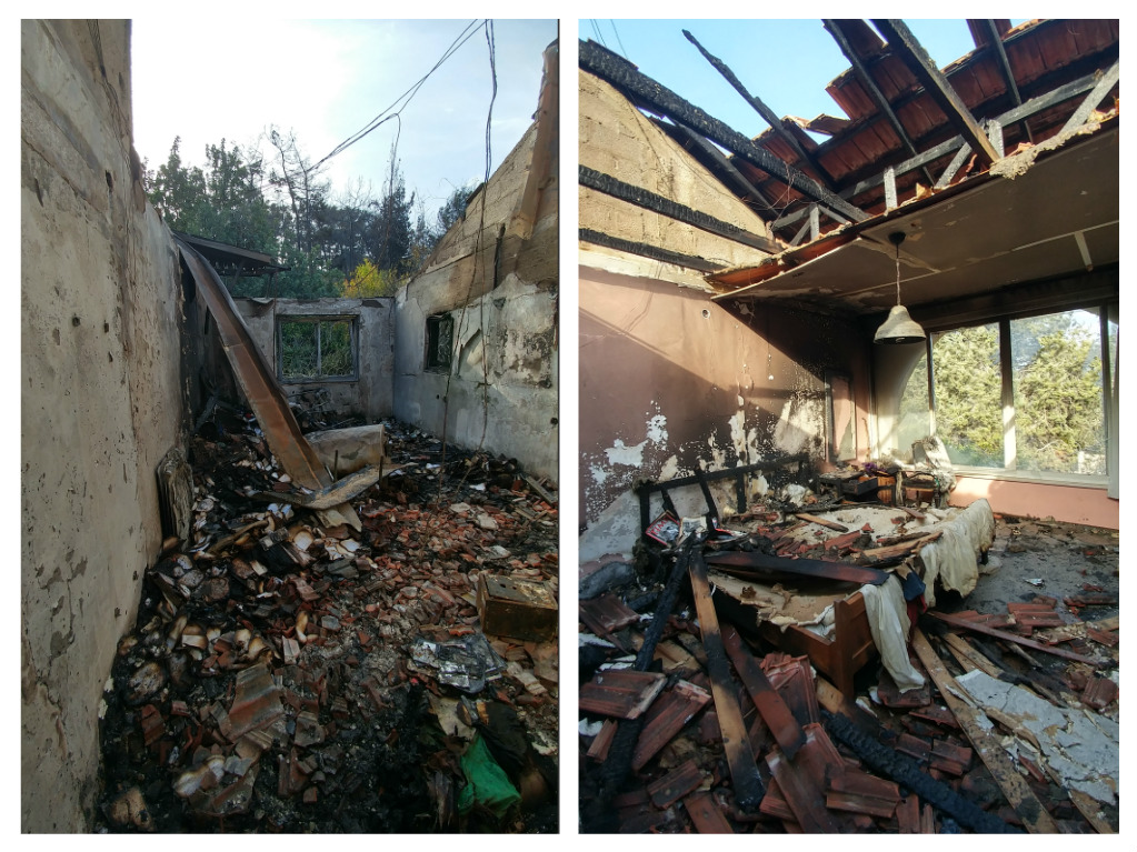 Aaron Prais 's house in Zichron Yaakov, following the devastation of the fire