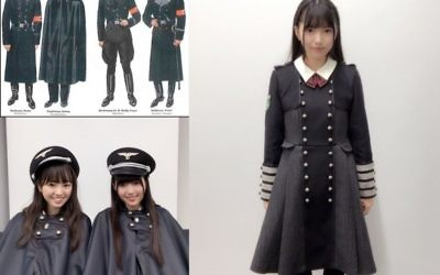 A social media user compares the Halloween costume of girl group Keyakizaka46 with Nazi SS uniforms from World War II. (@TMATO30KCAL on Twitter)
