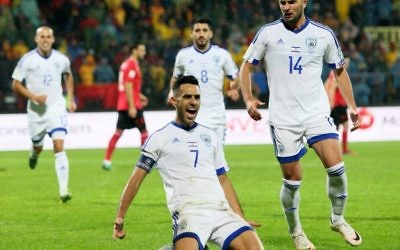Eran Zahavi (Captain) celebrates his goal against Albania