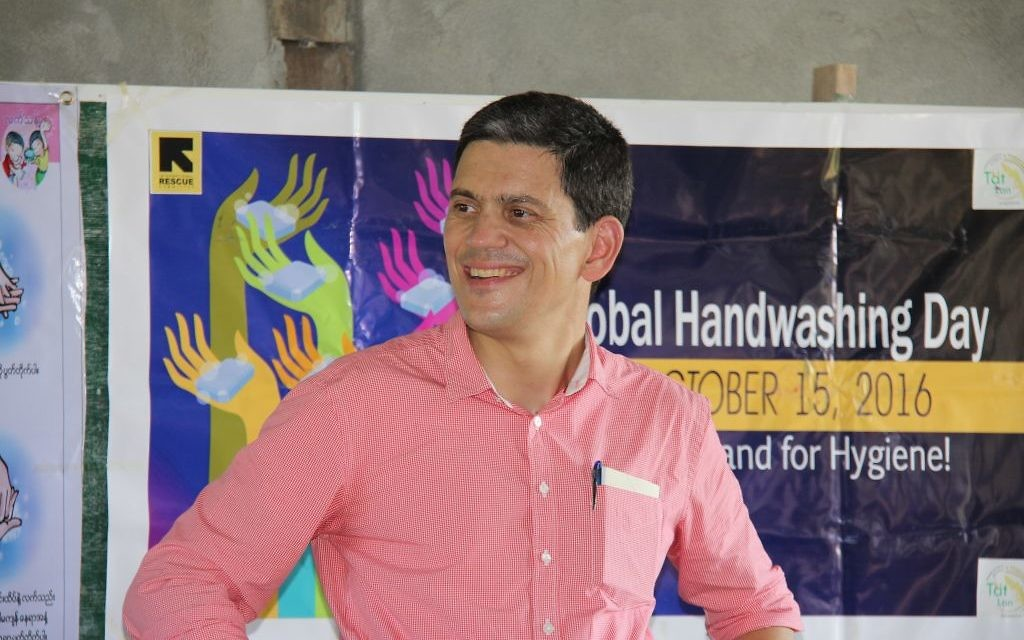 David Miliband in a Rakhine State community in Myanmar, where he heard how IRC has empowered them and changed their lives. (Credit: IRC/Jennifer Harrison)