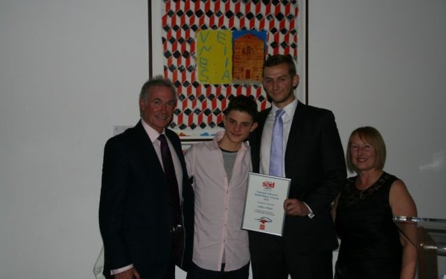 From left to right: SADS UK Patron Dr Hilary Jones, JCoss School pupil Noah Baron-Cohen, Ashley White PE Teacher and Anne Jolly, Founder of the cardiac charity SADS UK.