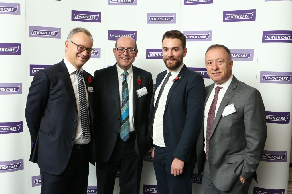 L-R: Steven Lewis, Chairman, Jewish Care, Nick Robinson, BBC, Jonny Benjamin, Topland Award Winner 2016 and Nick Doffman, Chairman of the Topland Group Committee