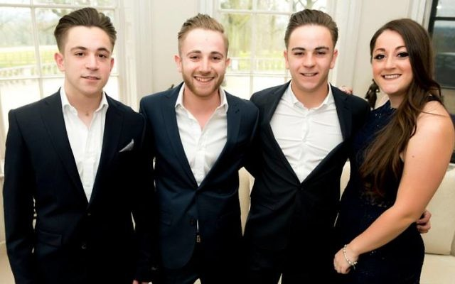 Josh with his siblings: L-R: Scott, Adam, Josh and sister Rhianna.