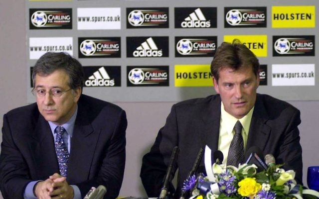 David  Bulcher (left) with former Spurs boss Glenn Hoddle (right)