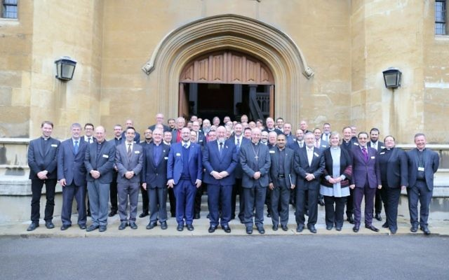 Jewish and Christian leaders, including the Chief Rabbi and Archbishop of Canterbury (centre) in front of Lambeth Palace