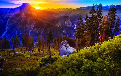 Yosemite National Park California Rising Sun over Half Dome taken from the Glacier Point