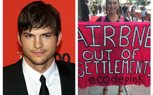 Ashton Kutcher (left) with Ariel Gold, who confronted him, on the right, (Photo credit: David Mercer/PA Wire)