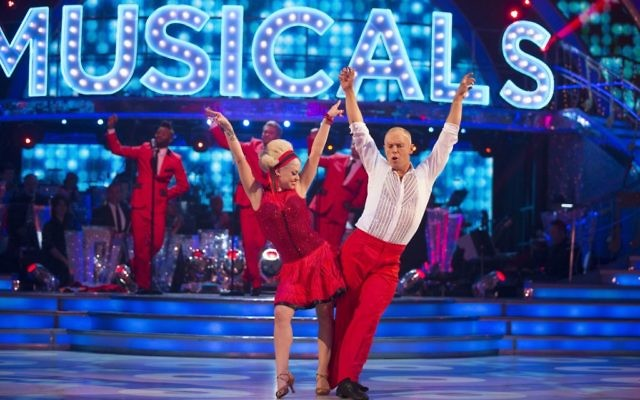 Oksana Platero and Judge Robert Rinder during the live show of BBC1 show, Strictly Come Dancing, as Judge Rinder shuffled out of Strictly Come Dancing after losing a dance off with sports presenter rival Ore Oduba.  (Photo credit: Guy Levy/BBC/PA)