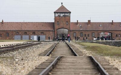 Train tracks at Birkenau, as a record number of visitors walked through the gates of Auschwitz this year to learn about the history of the former Nazi concentration camp. (Photo credit: Dave Thompson/PA Wire)
