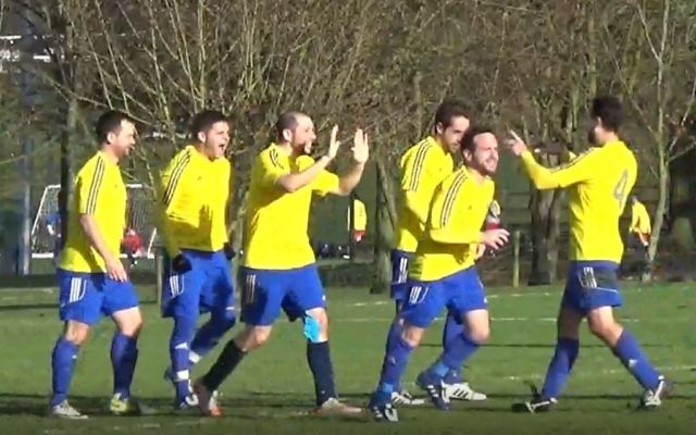 London Lions Masters celebrate Saul Conway's extra time winner