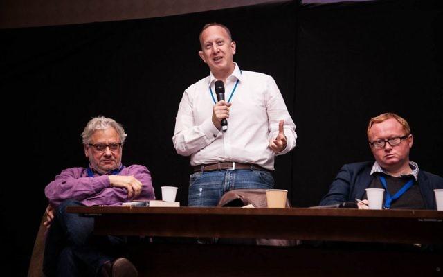 Left to right: Momentum chief Jon Lansman next to chair of the Jewish Labour Movement Jeremy Newmark and Luke Akehurst, a Labour activist at Limmud  (Photo Credit: Eli Gaventa)