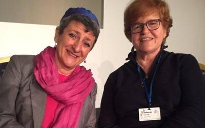 Rabbi Laura Janner-Klausner with historian Deborah Lipstadt at Limmud 2016