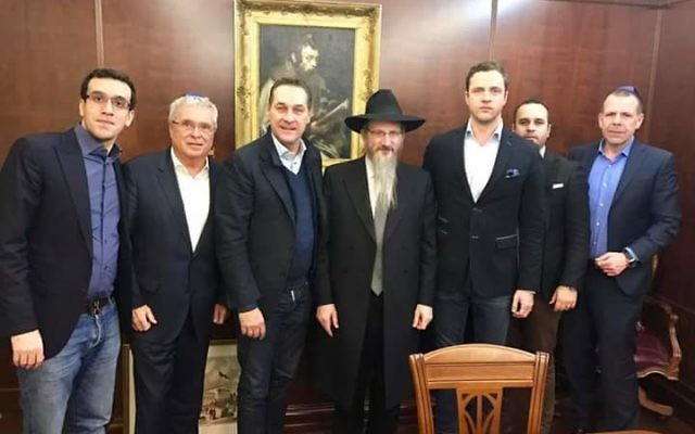 Russian chief rabbi Lazar (centre) ​ meeting Austrian far-right leader HC Strache ( third from left)