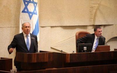 Prime minister Benjamin Netanyahu speaking in the Knesset in 2016
