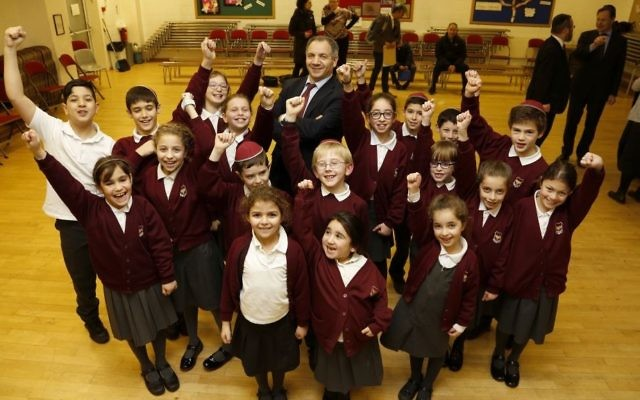 Pupils from Hasmonean Primary School with headteacher Alan Shaw