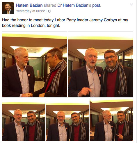 Hatem Bazian's post on facebook where he is shown embracing the Labour leader