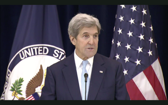 Senator John Kerry giving his farewell address as secretary of state