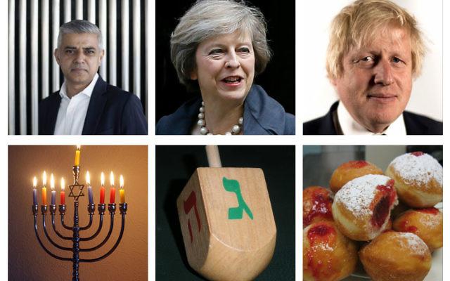 Messages to the Jewish community from London Mayor Sadiq Khan, PM Theresa May, Foreign Secretary Boris Johnson, with a Chanukiah, a dreidel and some jam doughnuts!