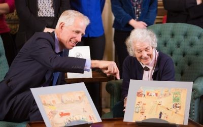 Children's writer, Judith Kerr, author of 'When Hitler Stole Pink Rabbit' , with some of her childhood sketches. Kerr and her family escaped to Britain in 1933. Antiques Roadshow is dedicating a special programme to Holocaust Memorial Day. Credit: BBC/Anna Gordon