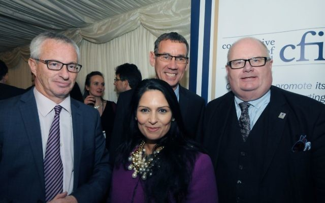 L-R: Stuart Polak, Honourary President of CFI with Israel's Ambassador to the UK Mark Regev and Sir Eric Pickles, parliamentary CFI chairman Sir Eric Pickles  with Priti Patel (centre)